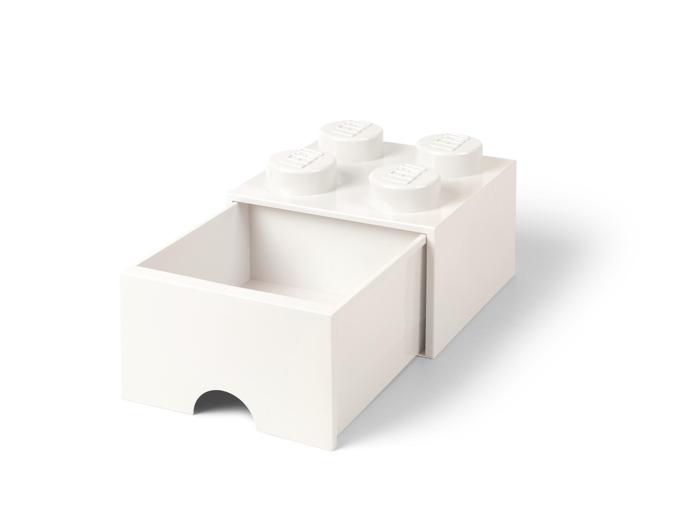 pudelko z szuflada w ksztalcie bialego klocka lego 5006208 z 4 wypustkami