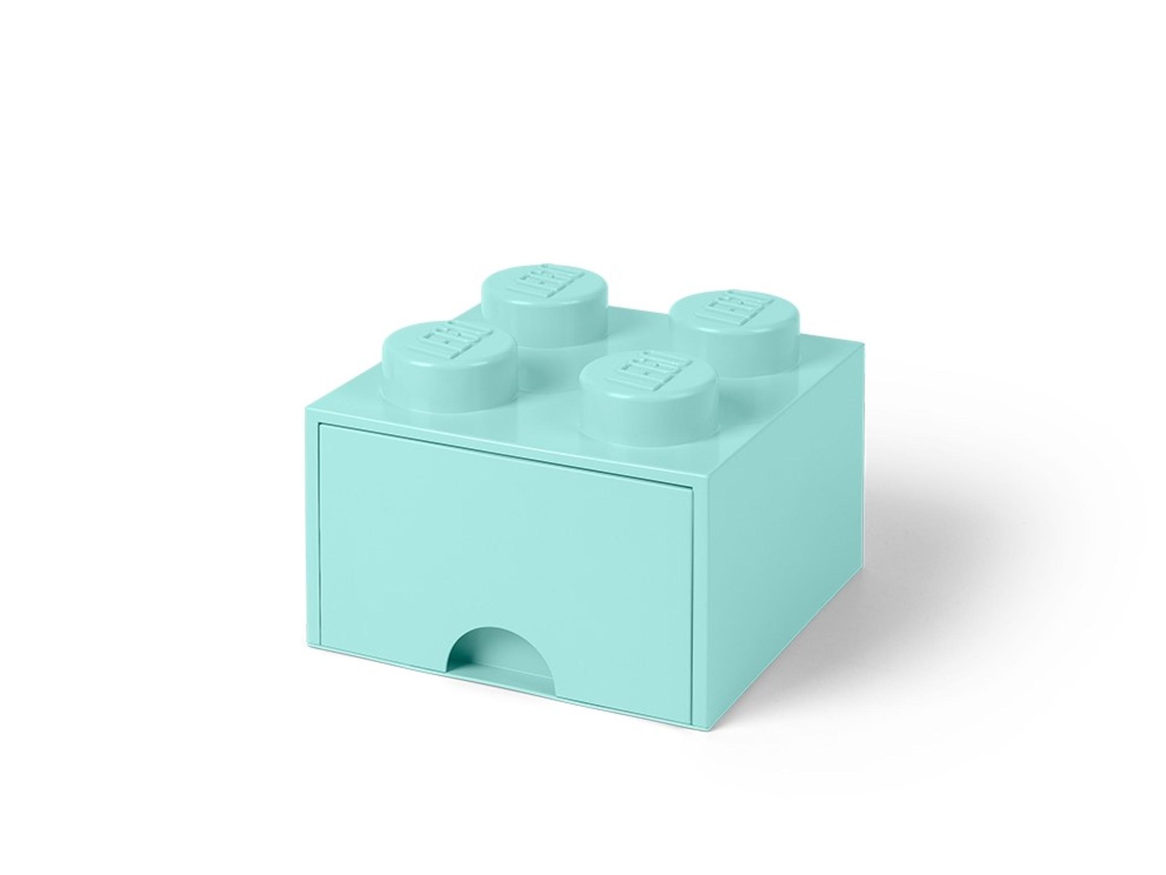 pudelko z szuflada w ksztalcie jasnoturkusowego klocka lego 5005714 z 4 wypustkami