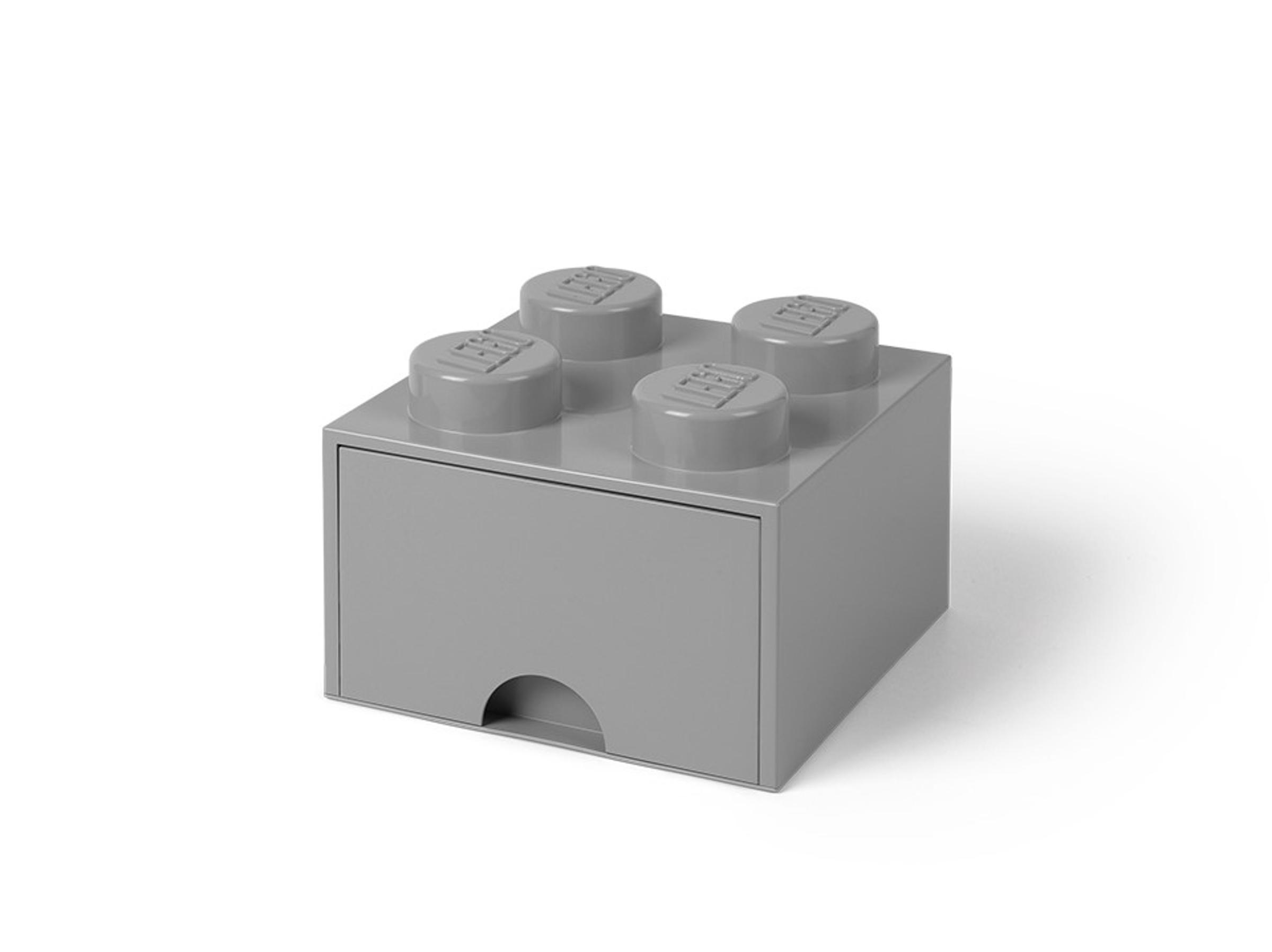 pudelko z szuflada w ksztalcie szaroblekitnego klocka lego 5005713 z 4 wypustkami