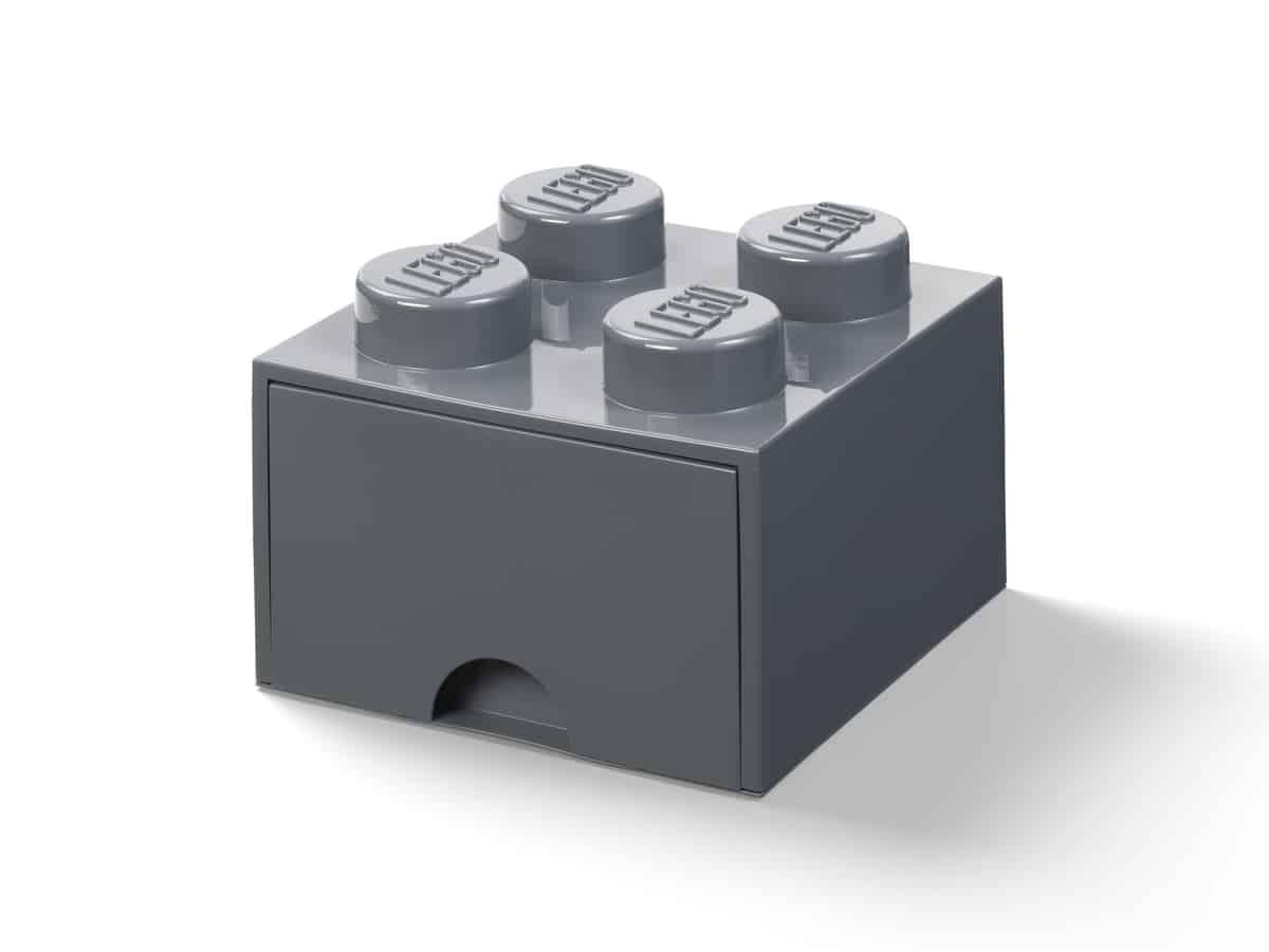 lego 5006328 ciemnoszare pudelko z szuflada i 4 wypustkami